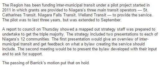 Niagara region halts public transit strategy