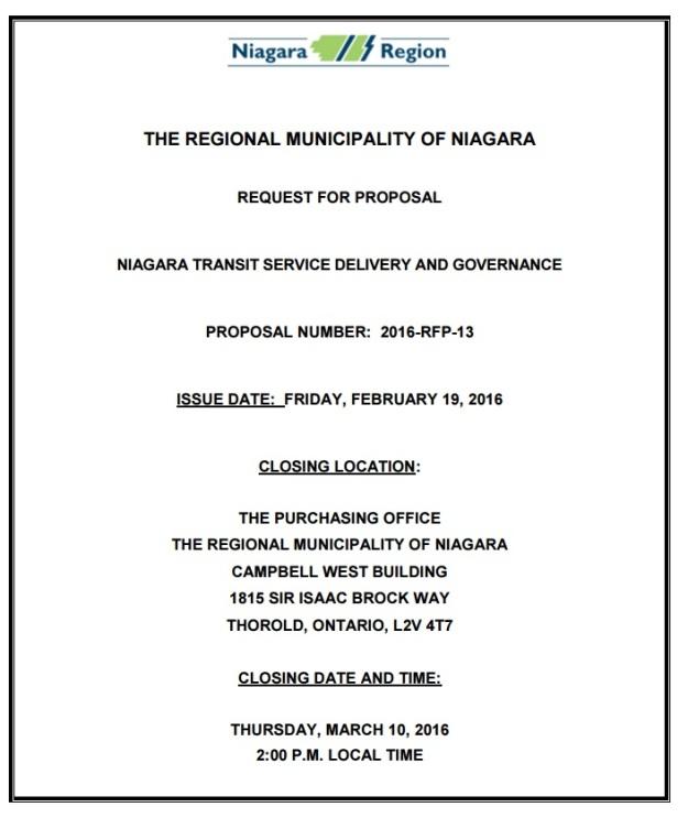 niagara region RFP
